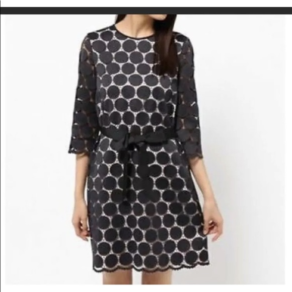 Kate Spade PolkaDot Scalloped Trim Shift Dress NWT